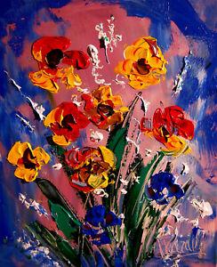 Flowers-ART-CANVAS-IMPRESSIONIST-IMPASTO-ARTIST-Original-Oil-Painting