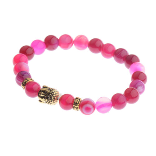 Pierre naturelle Bouddha Tête Perles énergie Yoga Reiki Hommes Femmes Bracelets Bijoux