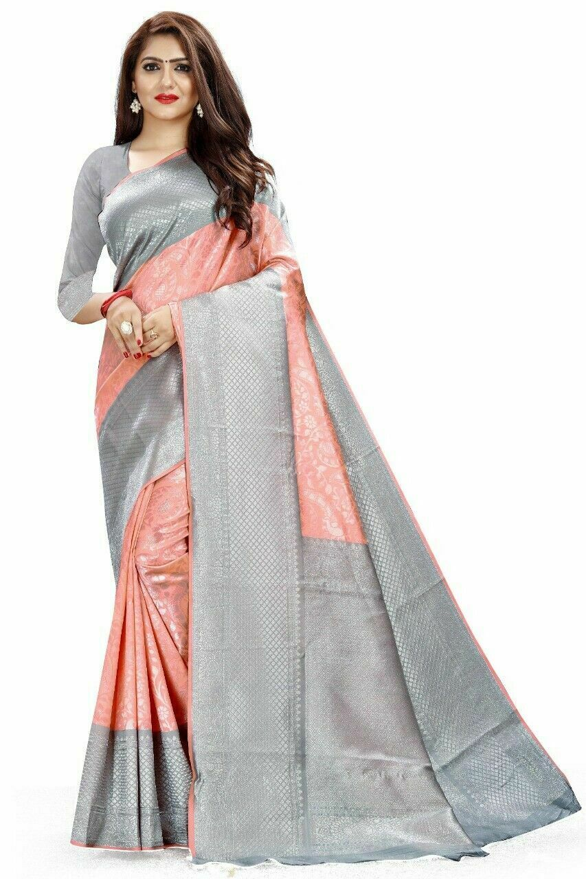 Pink-silver border Kanchipuram silk saree Indian ethnic wear formal wedding sari