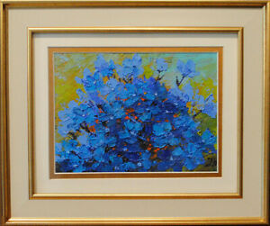 Delphinium-Original-oil-on-paper-7-5-034-x-5-5-034-miniature-painting-from-artist