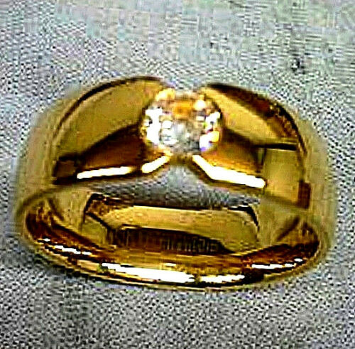size 12 in Gift Box TITANIUM Gold Plated Polished RING with 5mm Round CZ