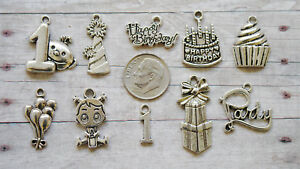 10pc First Birthday Girl Themed Charm Set Lot Collection//Party,1st,Happy,One,Hat