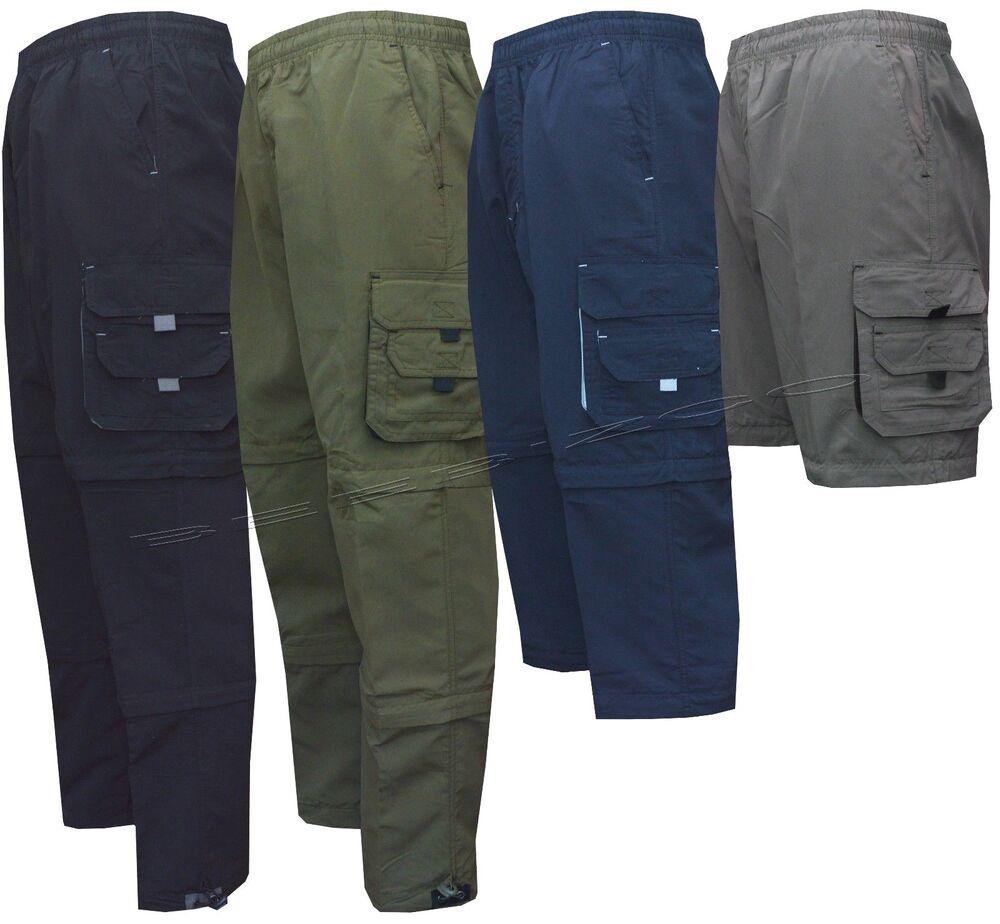 Homme Zip Off Cargo 3 In1 Pantalon De Survêtement Sport Casual Pantalon Shorts 3/4