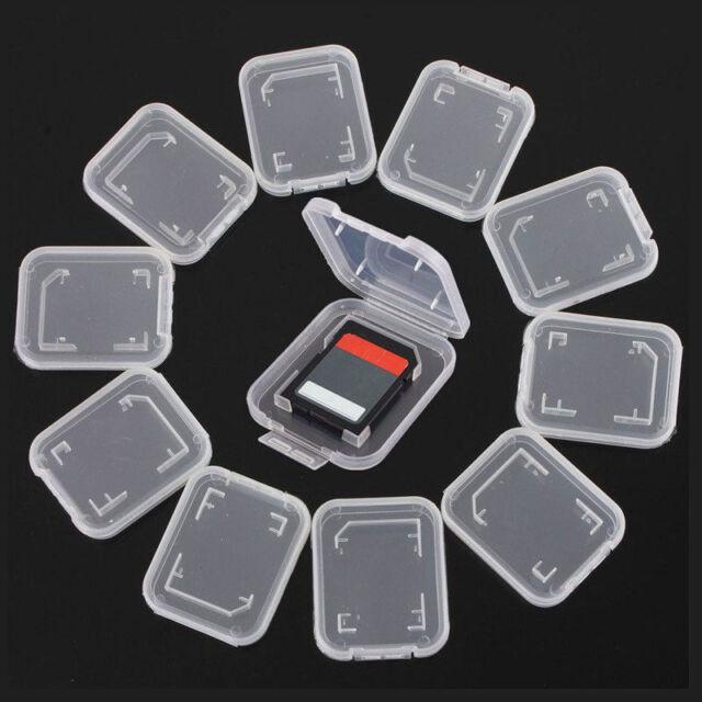 10X Transparent Standards SD SDHC Memory Card Cases Holder Box Storage ZY