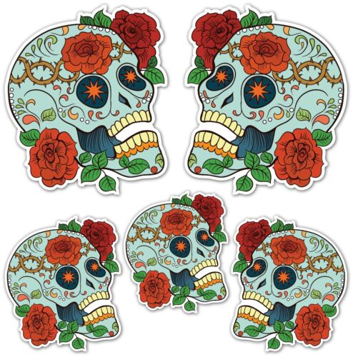 SUGAR SKULL STICKERS Day of the dead Mexican Car Motorbike Guitar Laptop Skull D