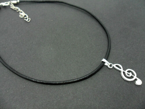 """A LADIES BLACK LEATHER CORD 13-14/"""" CHOKER MUSICAL NOTE  CHARM NECKLACE NEW."""