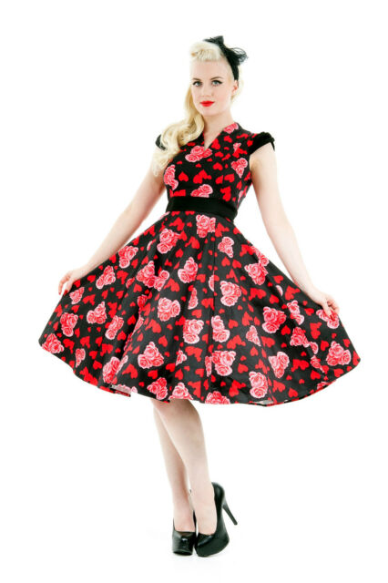 Classic 50's Vintage Style Hearts and Roses Rockabilly Jive Swing Dress New 8-18