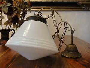 Deckenlampe-Jugendstil-Haengelampe-Art-Lampe-Antik-Pendelleuchte-Glas-Messing-NEU