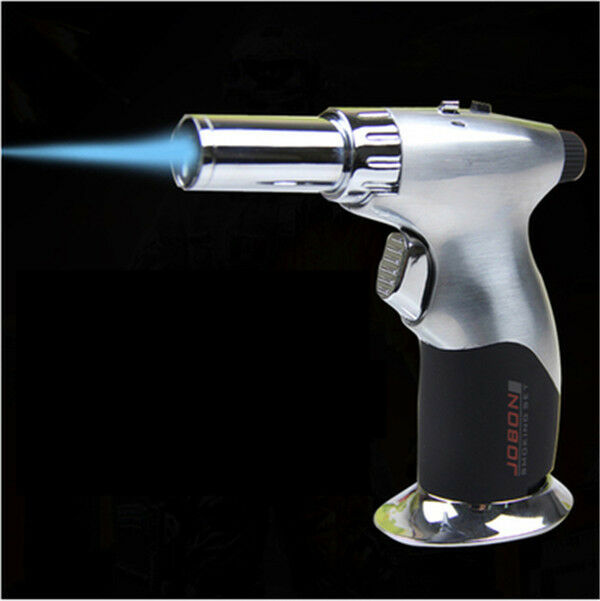 Silver Jobon Refillable Butane Steel Adjustable Flame Cigar Jet Torch Lighter
