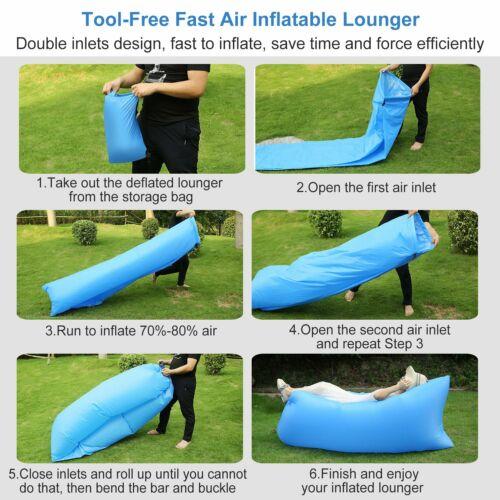 Gonflable chaise longue air Sac de couchage paresseux chaise matelas plage Canapé Lit d/'eau Flotteur