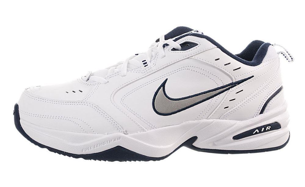 Men's Nike Monarch Monarch Monarch IV Training Shoe (4E) White/Met Silver-Mid Navy 416355 102 55a822