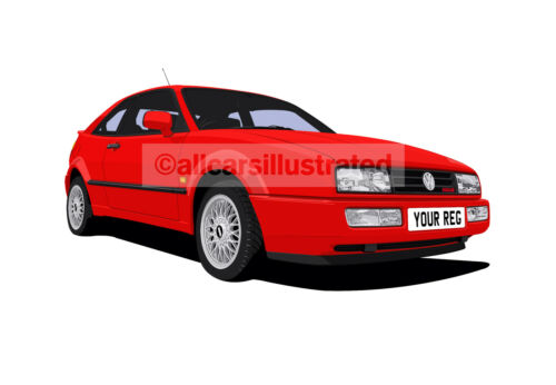 VW CORRADO 16V/G60/VR6 GRAPHIC CAR ART PRINT PICTURE (SIZE A3). PERSONALISE IT!