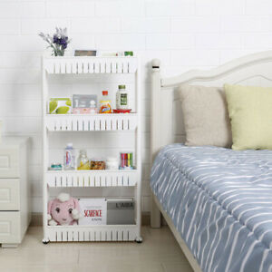 Household-Storage-Cart-Slim-Slide-Tower-Rack-Kitchen-Shelf-With-Wheels-3-4-Tier