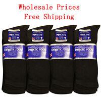 Diabetic Socks Cotton Men Crew Length 9-11 10-13 13-15 Black Grey & White Lot 1