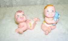 LITTLE DIAPER BABY FIGURE 1991 LGT   LOT OF 2 W/ BEAR AND CRAWLING PVC