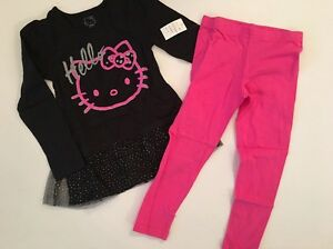 28c4f8cbb Hello Kitty Girl Tunic Ruffle Long Sleeve Top Leggings Set Hot Pink ...