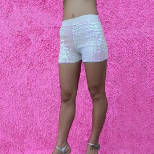Damen Pailletten Shorts DISCO HOTPANTS glänzend Glitzer Jazz Mini kurzer Stretch