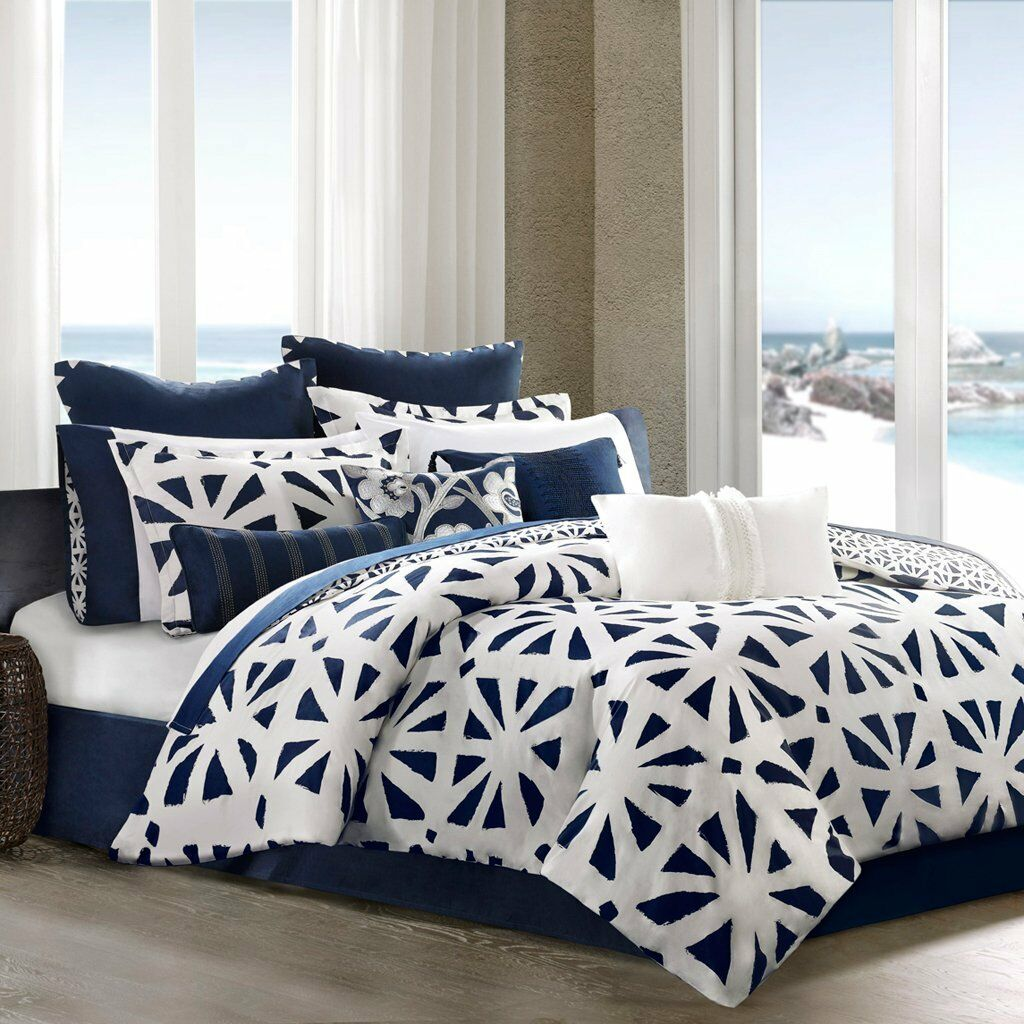 NEW Echo African Sun Full Duvet Set -Blau Weiß & FREE 1 Blau Oblong Dec Pillow