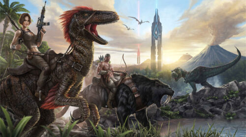 """ARK Survival Evolved Game Art Poster 43x24/"""" 25x14/""""  Video Game 2017 Silk #2"""
