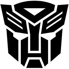2x BLACK Transformers Autobot Vinyl Decal Sticker Car Hood Window Laptop iPad