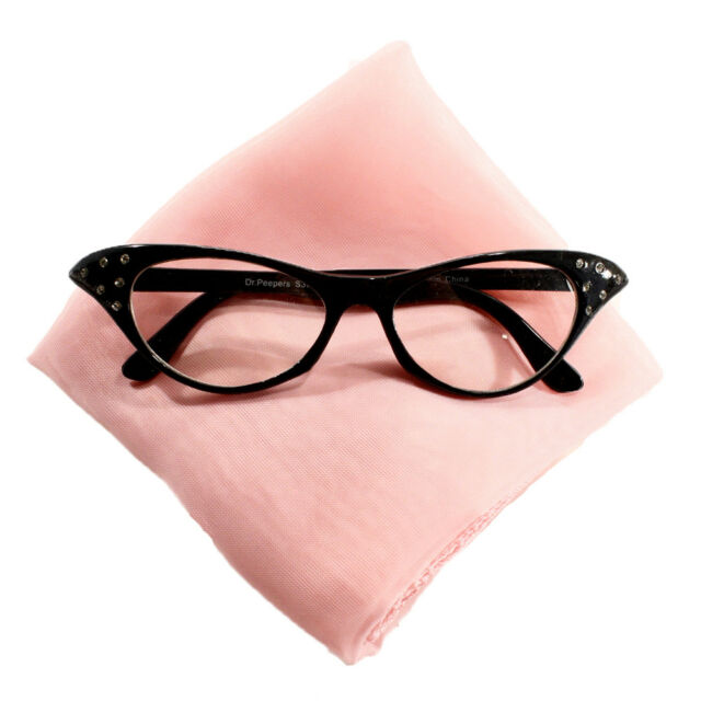 f19bed8b829e9 Sheer Chiffon Scarf   Cat Eye Glasses - Sock Hop 50s Accessory Set ...