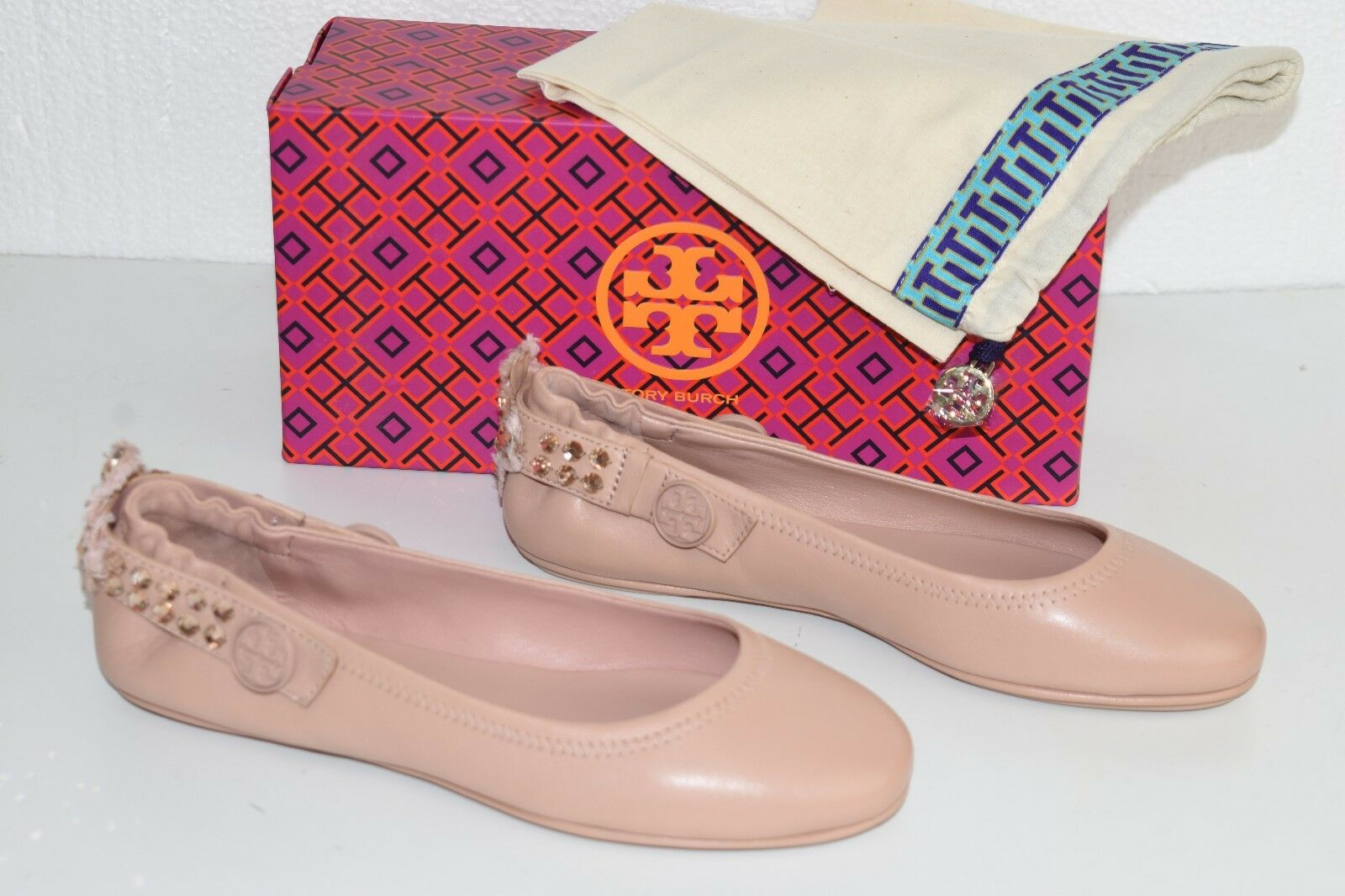 7ea6c92b74c ... NEW Tory Tory Tory Burch MINNIE Crystal EMBELLISHED TWO WAY FLATS Blush  Rose Shoes 7.5 9.5 ...