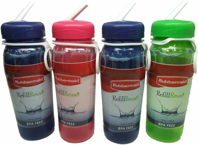 Pack 4 Rubbermaid Refill Reuse 32-Ounce Jumbo Size Chug Bottle Assorted Colors