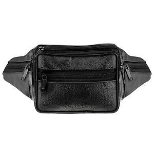 ASAB Real Leather Bum Bag Fanny Pack Waist Money Belt Travel Pouch Wallet  Black dc3949bbac7e
