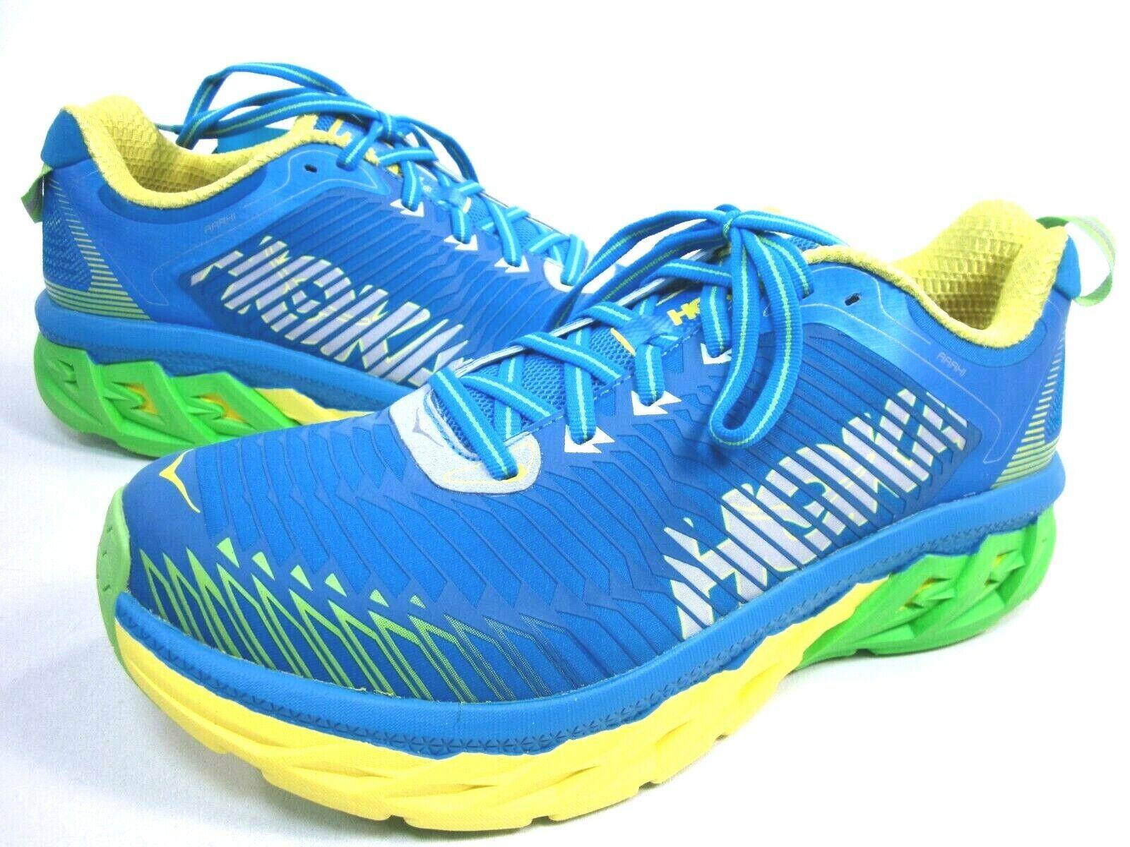 HOKA ONE ONE MEN'S ARAHI RUNNING SHOES,blueE ASTER YELLOW,US SIZE 10.5,M