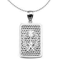 Sterling Silver Saudi Arabia Emblem Engravable Dog Tag Pendant Necklace