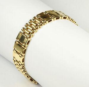 Chargement De L Image Fibo Gold Bracelet 14k Wide Heavy Italian 8
