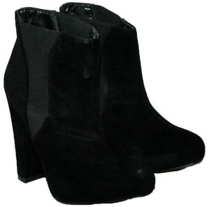 Señoras negras de ante de imitación tire de inicio de moda con insertos laterales de tamaño 4
