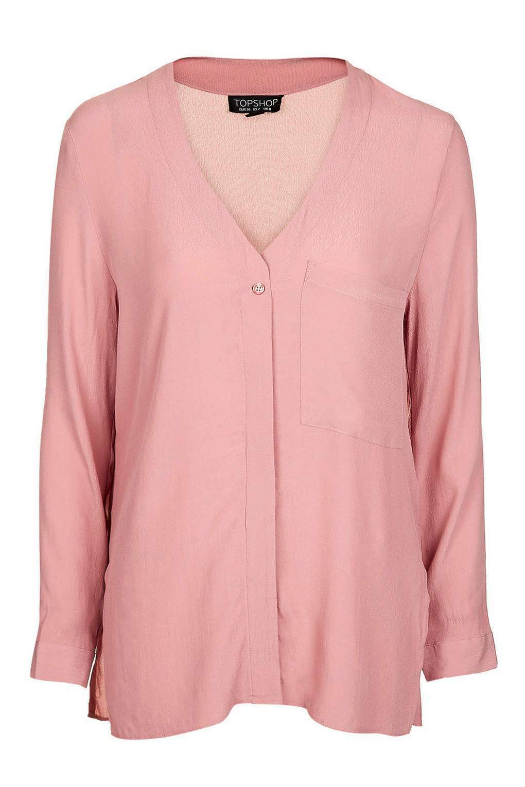 Topshop rosa Blush Manica Lunga Slouch Slouch Slouch Pocket Camicia Blusa Top EUR 38 US 6 10fe68