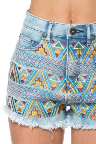 CLASSIC BRAND Multi-Colored Embroidered JUNIOR Denim Jean Shorts