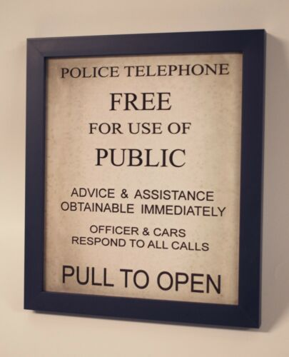 Doctor Who TARDIS Police Box Phone Door HANDMADE Framed Sign Pull to Open