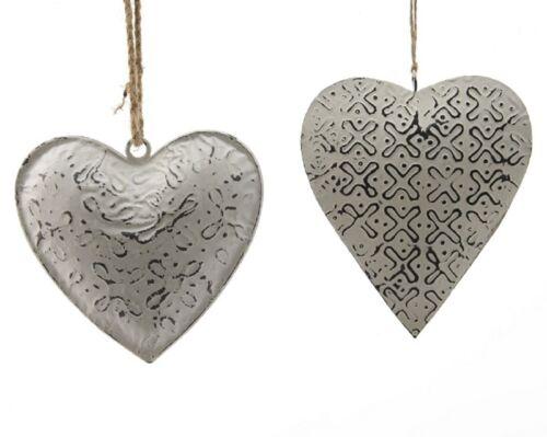 Coeur remorque herzhänger fer coeur blanc gris maison de campagne vintage 2er set