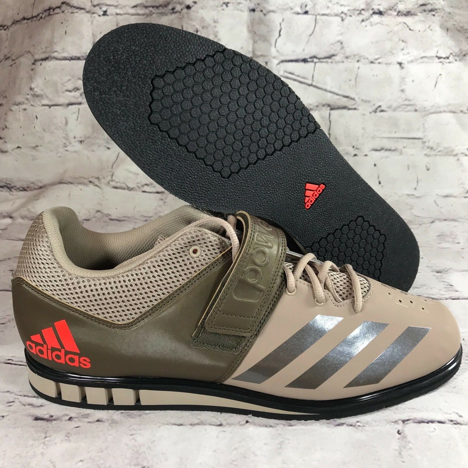 Adidas POWERLIFT 3.1 Brown Green weightlifting shoes BA8017 sz14.5