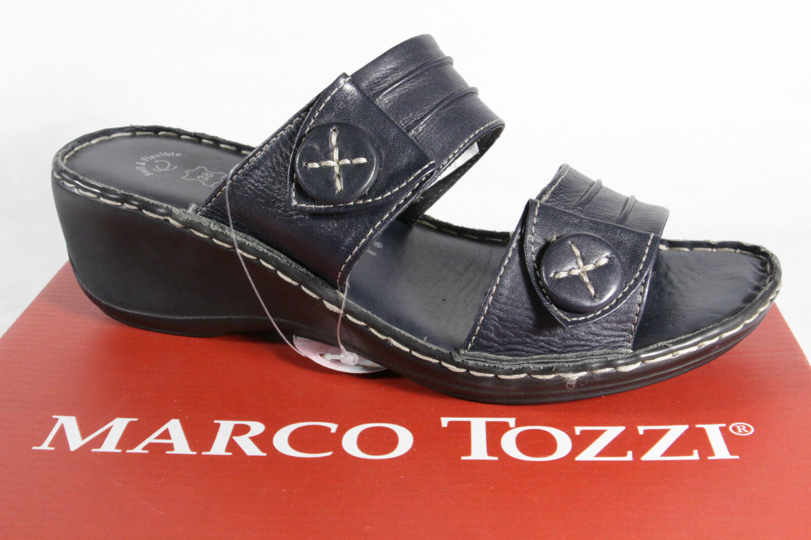 Marco tozzi Ladies Mules Sandals Real Leather bluee
