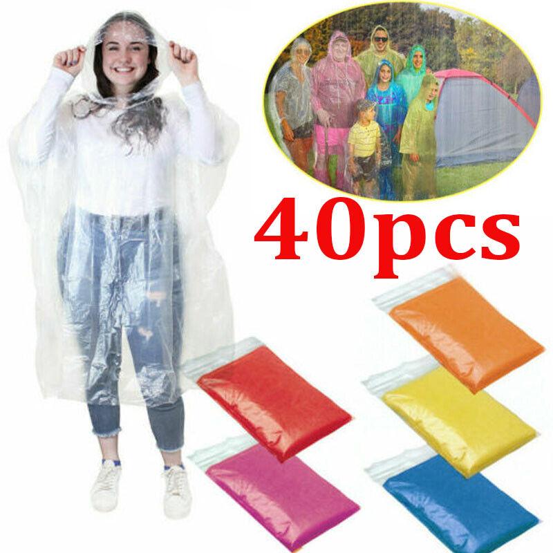 40PC Unisex Raincoats Disposable Adult Emergency Rain Coat P
