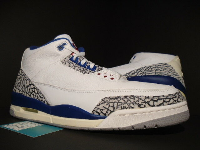 2001 NIKE AIR JORDAN III 3 RETRO WHITE TRUE BLUE CEMENT GREY OG 136064-141 DS 15