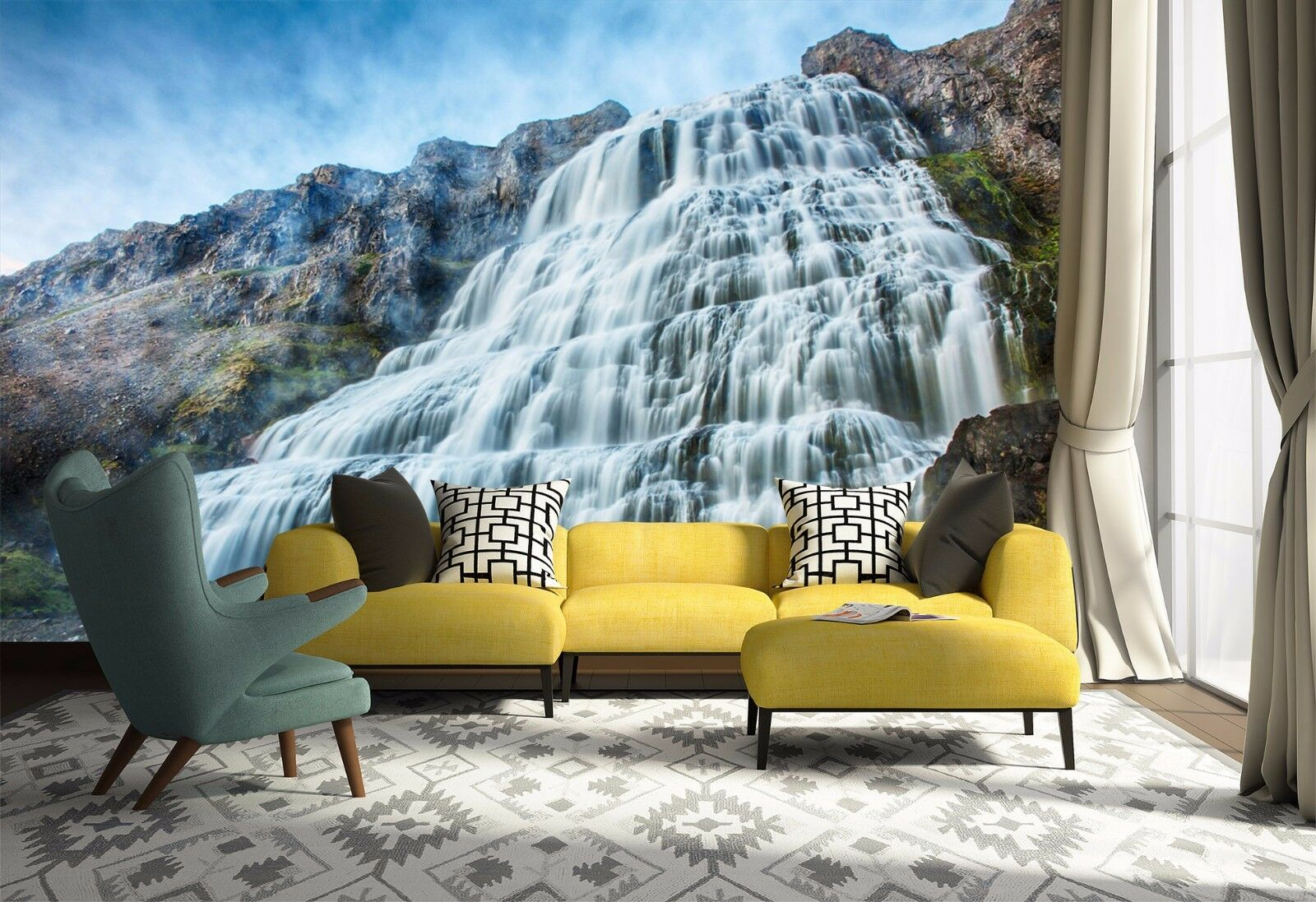 3D Sky Stone Waterfall 834 Wallpaper Mural Paper Wall Print Wallpaper Murals UK