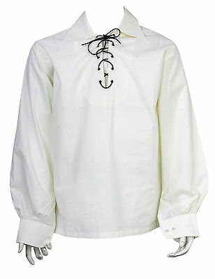 XXL M XL L Scottish NERO JACOBITE Ghillie Kilt Camicia Leather Cord Taglie S