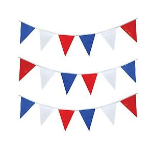 25m-Fanion-Drapeau-Rouge-Blanc-et-Bleu-PVC-Fete-Banderole-Triangle-de-Rue-25m