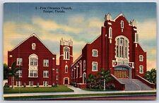 First Christian Church in Tampa, Florida Hillsborough County Linen Postcard New