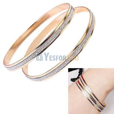 Elegant Women 18K Gold Plated Bracelet Bangle Crystal Arm Cuff Armband Bracelet
