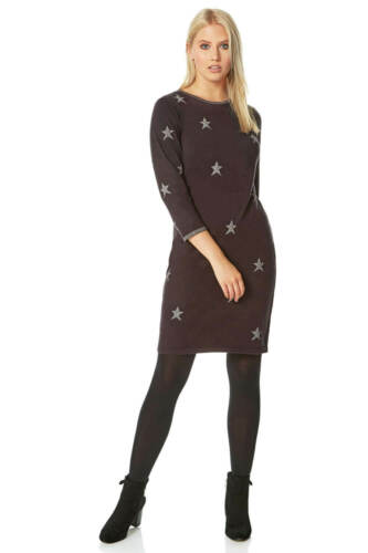 Star Embellished Knitted 3//4 Sleeve Dress Women Roman Originals