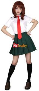 Women's MHA Ochako Uraraka Tsuyu Asui Cosplay Costume Summer School Uniform