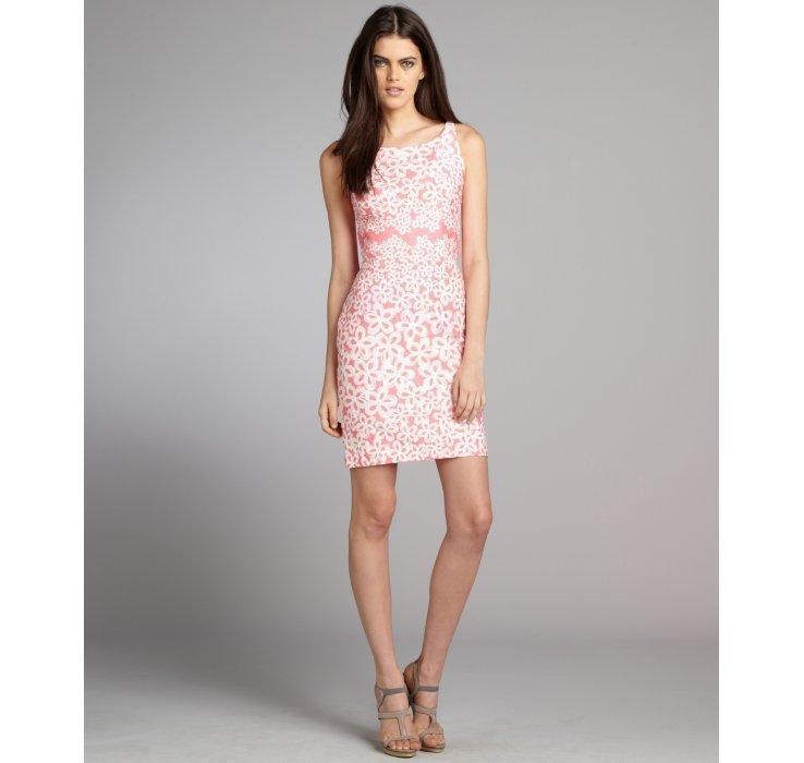 Taylor Rosa & Weiß Texturot Floral Printed Cotton A-Line Dress Größe 14 NWT