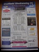 09/02/2010 Colour Teamsheet: Sheffield Wednesday v Blackpool