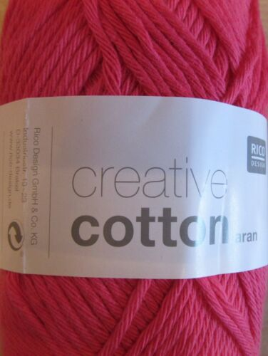 50g BALLS RICO CREATIVE COTTON ARAN KNITTING//CROCHET YARN NEW SHADES ADDED